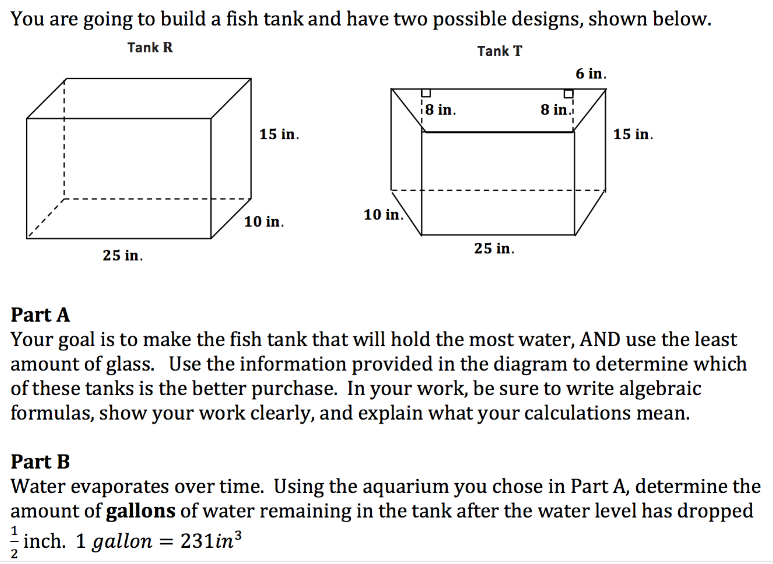 Fish tank volume calculator inches - Guiding Questions